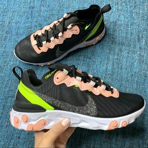 NWOT Nike React Element 55 Coral Stardust Sneakers